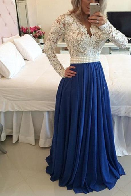 Sexy Elegant Long Sleeve Prom Dresses,Discount Prom Dresses,Beaded Prom Dresses,Cheap Prom Dresses,Prom Dresses with Pearls Belt,Handmade Prom Dresses,Evening Dresses,Dresses for Prom,Cheap Prom Dress,Formal Dress, Sexy Gril Dress, Floor-Length Prom Dresses, Evening Dresses, Custom Dress