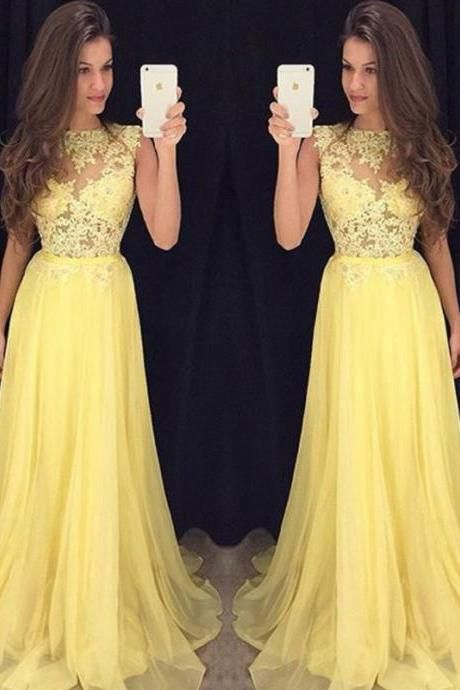 Prom Dress,Long Prom Dresses,Appliques Prom Dress,Sexy yellow Chiffon Prom Dress,Prom Dress for Juniors,Homecoming Dress for Teens ,Evening Party Dress,Dress for Special Occasion, Formal Dress, Sexy Gril Dress, Floor-Length Prom Dress, Backless Prom Dress, Custom Dress