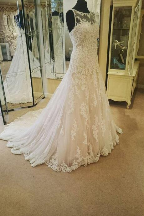 Wedding Dress, tulle LACE Beidal Dresses,Illusion Neckline Ivory Lace Backless Wedding Gowns Princess Wedding Dress For Bride,Sleeveless Formal Evening Dress,Formal Gown