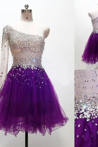 Grape Homecoming Dress,One Shoulder Homecoming Dresses,Tulle Homecoming Gowns,Short Prom Gown,Sweet 16 Dress,Glitter Homecoming Dress,Fitted Formal Dress