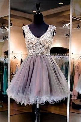 Elegant Silver Homecoming Dresses,V-Neck Short Prom Dresses,Beaded Homecoming Dresses,Mini Homecoming Dress,Sexy Homecoming Dress,Cheap Homecoming Dresses