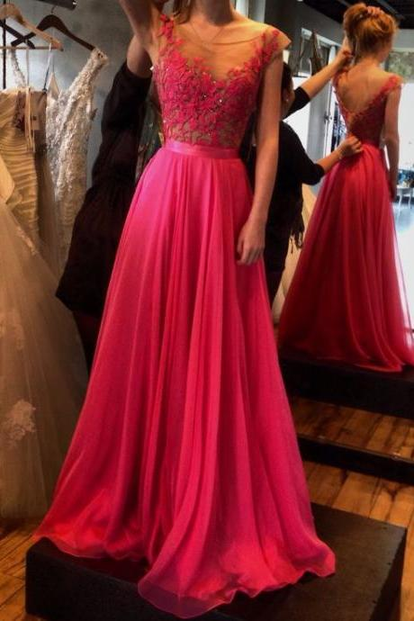 Lace Prom Dresses,Hot Pink Prom Dress,Modest Prom Gown,A Line Prom Gown,Lace Evening Dress