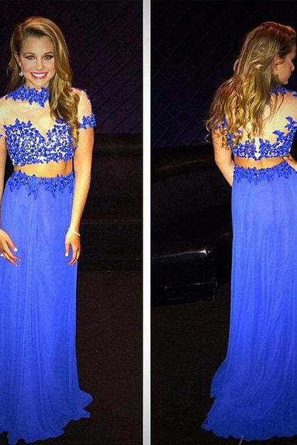 Backless Prom Dresses,Open Back Prom Gowns,Royal Blue Prom Dresses,Prom Dresses