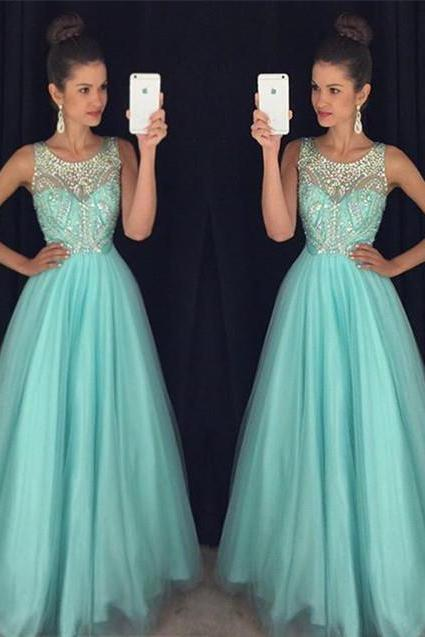 Mint Green Prom Dresses,Elegant Evening Dresses,Long Formal Gowns,Beaded Party Dresses