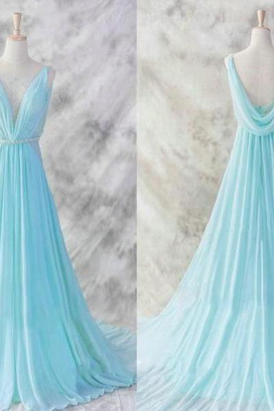 New Arrival Prom Dress,Light Blue Chiffon Long Prom Dresses