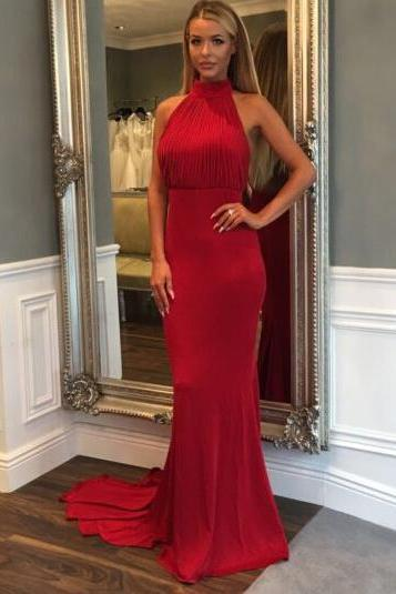 Red Halter Gown with ruched,Open Back Evening Dress, Sheath Prom Gowns,Prom Dress