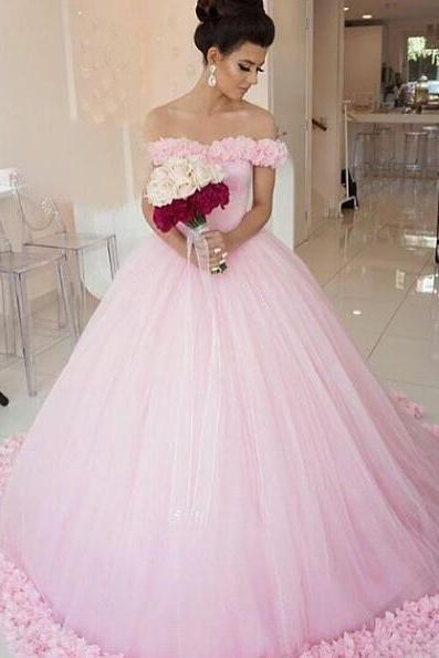 Pink Wedding Dress,Simple Wedding Dress,Off the Shoulder Bridal Gowns,Women Ball Gowns,Wedding Dress with Flowers