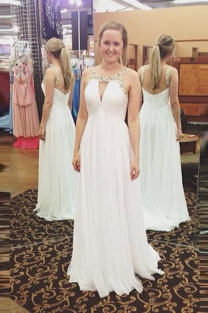 Lovely A-Line Prom Dress,White Prom Dresses A-Line Prom Dress,Cap Sleeve Prom Dresses,Evening Dress