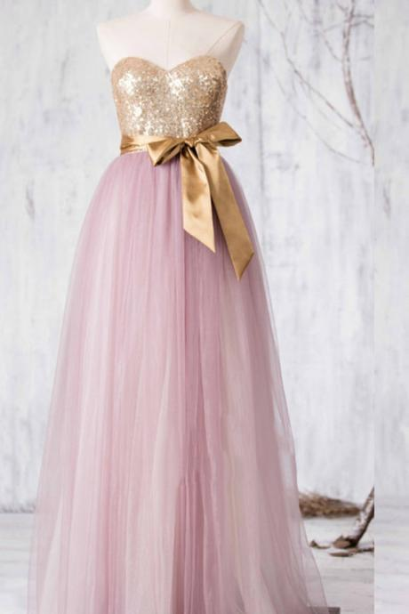 Pink tulle sweetheart sequins bowknot A-line long formal dresses for teens,princess dresses