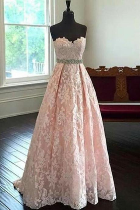 blush pink prom dress,long Prom Dress,lace prom dress,sweetheart evening dress,evening gown