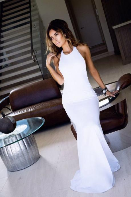 New Arrival Mermaid Prom Dress,Long Evening Formal Dress,Backless Evening Gown,Formal Dress,White Women Dress
