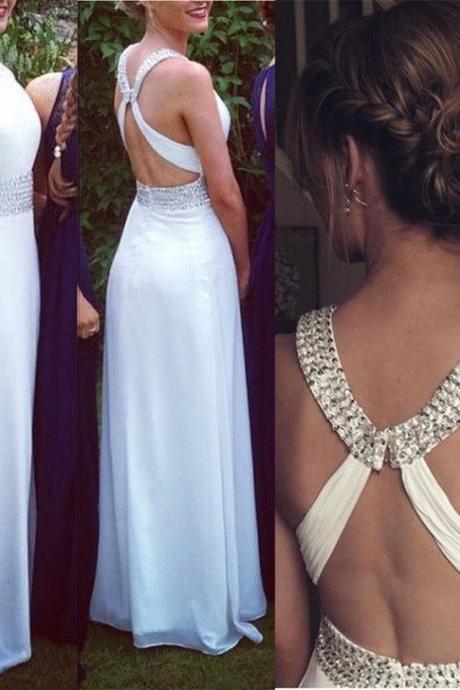 Fashion White Prom Dress , Shiny Beading Prom Dress , Sexy X Back White Prom Dress , A-Line Floor Length Long Prom Dress , Free Custom Made