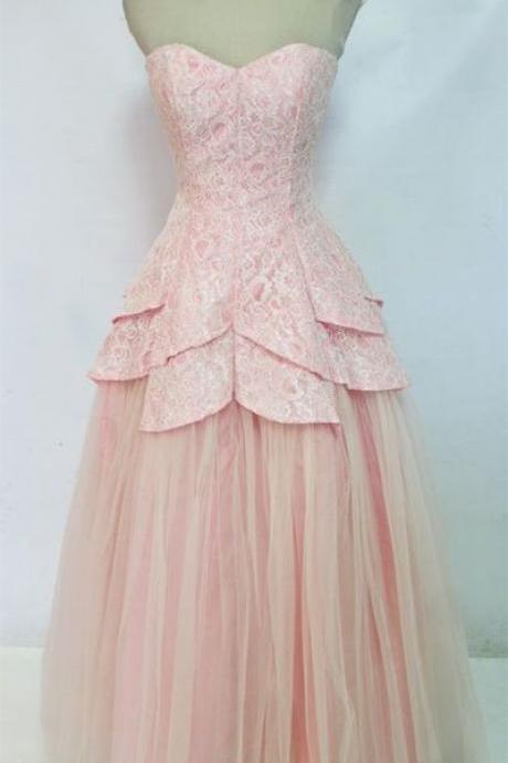 Charming Pink Formal Dress,Sweetheart Prom Dress,Tulle Prom Dress,Lace Prom Dress