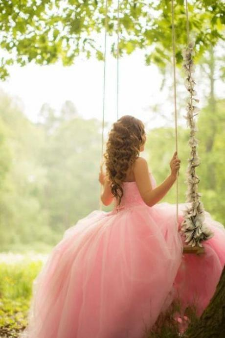 Custom Made Pink Chiffon Prom Dress,Sexy Strapless Party Dress,Lace Evening Dress,Chiffon Party Dress