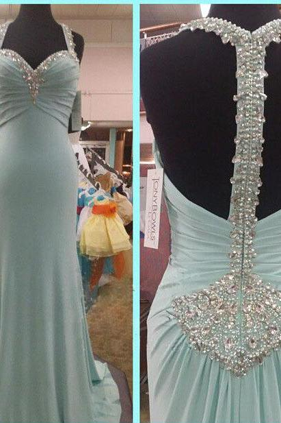 Light Blue Beaded Embellished Sweetheart Halter Strap Floor Length A-Line Formal Dress Featuring Open Back, Prom Dress