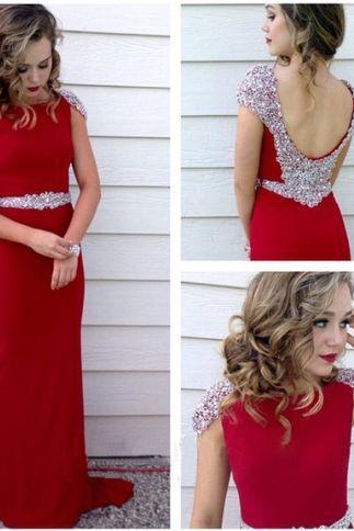 Red Mermaid Beaded Chiffon Long Prom Dress, evening Dress Featuring Open Back and Cap Sleeves