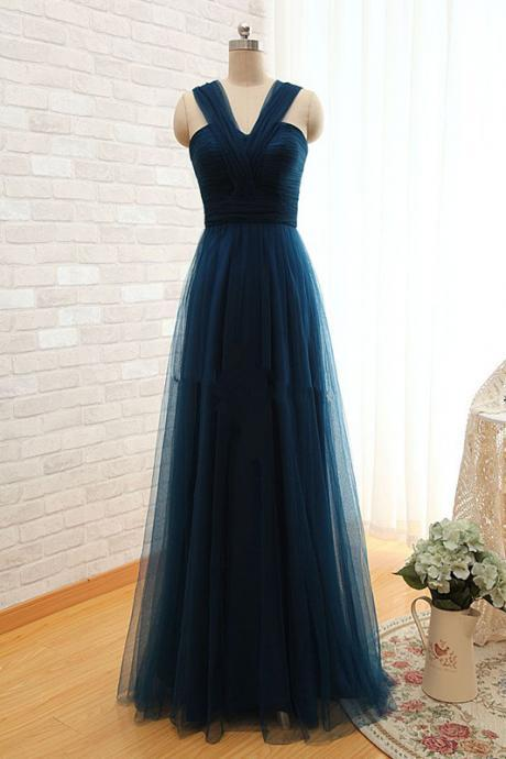 Prom Dresses,Elegant Sleeveless Evening Dress Long Tulle Floor Length