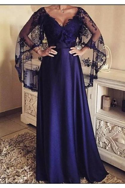 Elegant Prom Dress,V-neck Long Evening Dresses with Lace Shawl,Formal Party Gowns