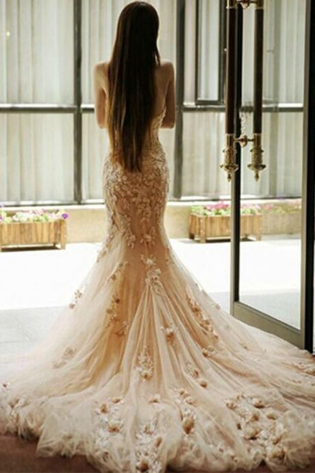 Apricot tulle applique Wedding dresses,lace sweetheart mermaid Wedding dress,long prom dresses,graduation bridal dresses