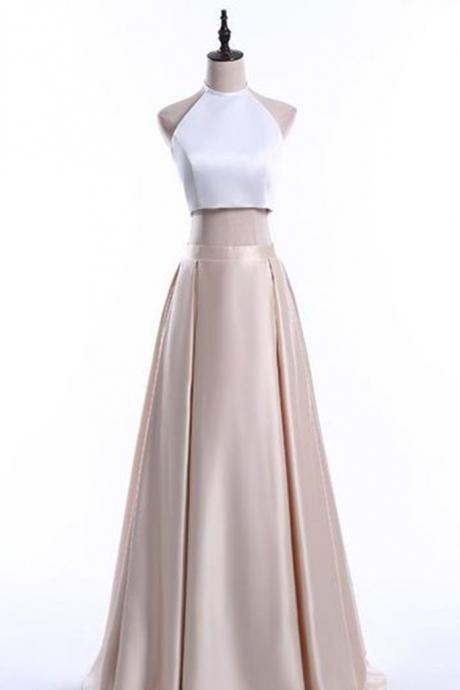 Elegant light golden satins two pieces prom dresses,halter simple A-line long dresses,formal dresses