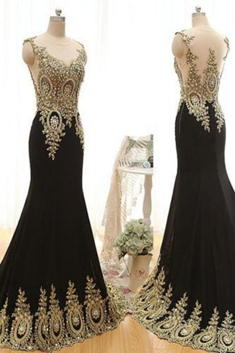 Plain Black Retro Prom Dresses