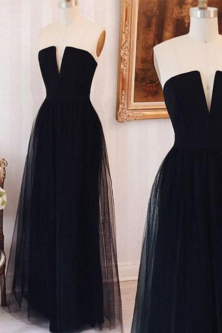 navy blue V-Neck prom dress,Floor-Length tulle Prom Dress with Pockets,formal dress ,prom party dress
