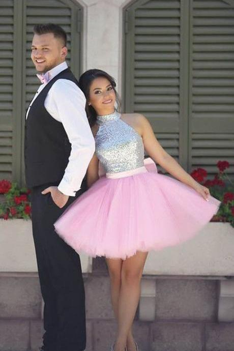 pink homecoming dresses, short homecoming dress, pink homecoming dress, sparkly sequins homecoming dress party dress