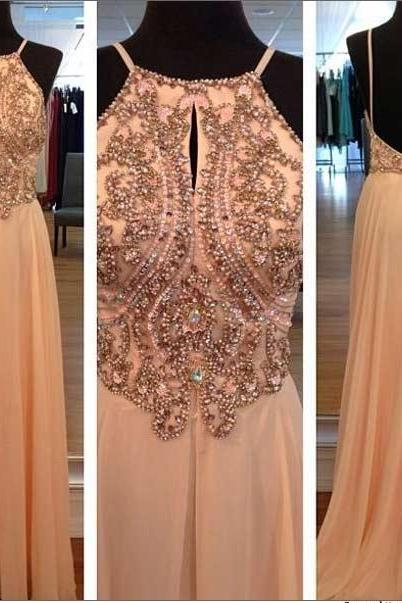 Light Peach Beaded Long Prom Dresses, Custom Backless Evening Gowns Long Prom Dresses, Straps Prom Gowns,Beaded Evening Dresses, Backless Evening Gowns, Cocktail Dresses Custom