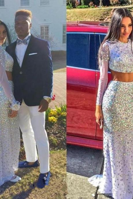 Luxury Prom Dress,Two Piece Prom Dresses,Beaded Prom Dress,Sequin Prom Dress,Sparkle Prom Dress,Hot Style Prom Dress,Mermaid Prom Dress,Long Sleeve Prom Dress,Party Dresses
