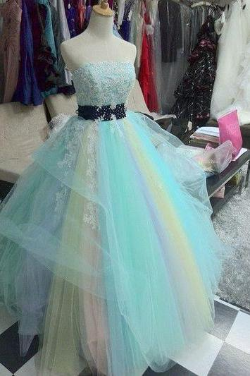 Colourful Strapless Lace Appliqués Princess Ball Gown, Prom Dress, Evening Dress