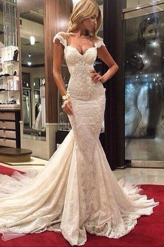 White prom dress,lace prom dress,long prom dress,mermaid prom dress,cap sleeve prom dress,evening dress,formal dress