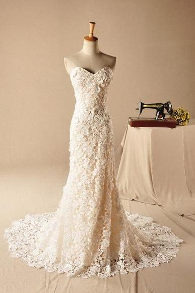 Strapless Sweetheart Lace Mermaid Wedding Dress, Prom Dress