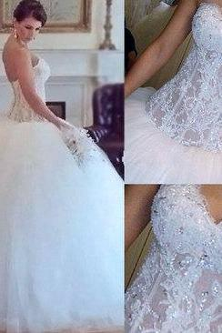 Gorgeous wedding dresses,white wedding dress,lace wedding dress,handmade wedding dress,bridal gown