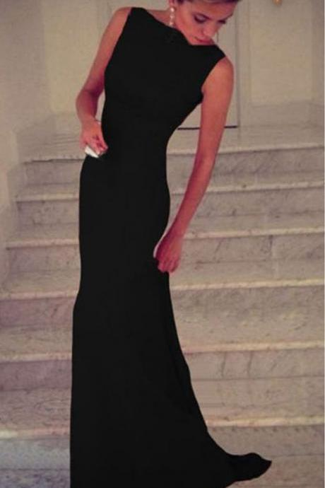 Charming Prom Dresses,Black Chiffon Prom Dress,Long Evening Dress,Sexy Mermai Party Dress