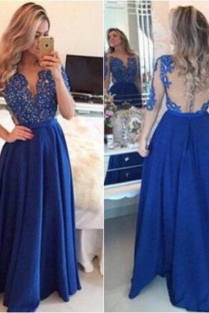 See Through Formal Dress,Half-sleeves Prom Dresses,A-line Prom Dress,Long Prom Dresses,Beaded Prom Dress,Navy Chiffon Prom Dress,Beaded Chiffon Prom Dress,Long Prom Dress,Long Chifffon Evening Dress