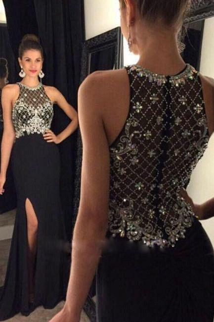 Black Mermaid Prom Dress,Long Prom Dresses,Beaded Prom Dress,Black Chiffon Prom Dress,Beaded Chiffon Prom Dress,High Slit Prom Dress,Long Chifffon Evening Dress,Black Chiffon Formal Gowns