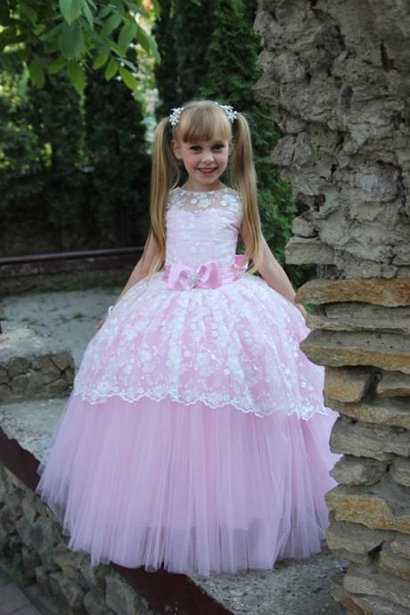 Colorful Toddler Ball Gown Elegant Flower Girl Dress For Wedding Party Dresses Girl First Communion Dresses