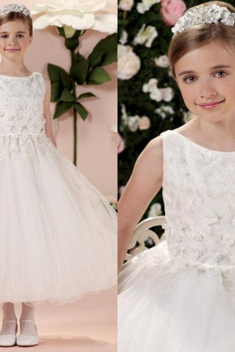 White Flower Girl Dresses,Ivory Flower Girl Dresses,A-line Flower Girl Dresses,Tulle Flower Girl Dresses,Tea Length Flower Girl Dresses,Girl First Communion Dresses,Kids Pageant Dress,Girl Party Prom Dresses