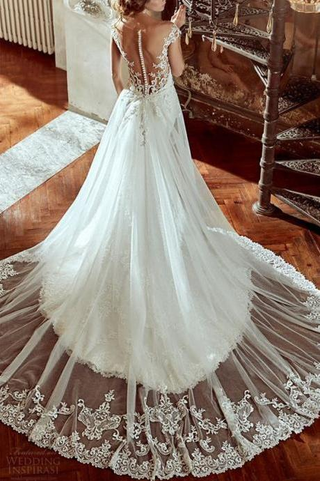Custom Charming White Lace Wedding DressES,Sexy Open Back Bridal Dress