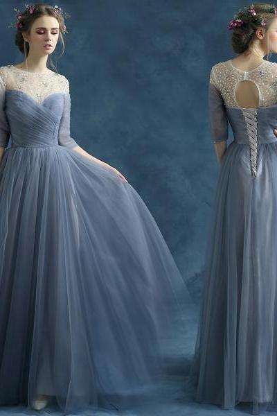 Blue Grey Prom Gown,Crystal Half Sleeve Maxi Long Prom Dresses,Evening Dress Elegant Lace-up Special Occasion Party Dress