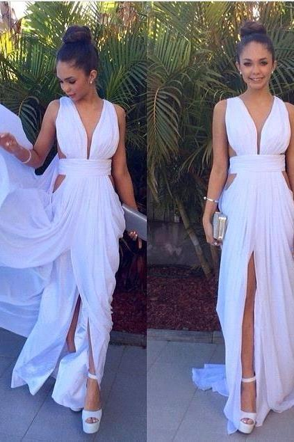Chiffon Prom Dresses with Straps, Evening Dress with Train, Simple Prom Dresses, Prom Dresses for Teens, White Prom Gowns, Long Party Gowns, Sexy Prom Dress