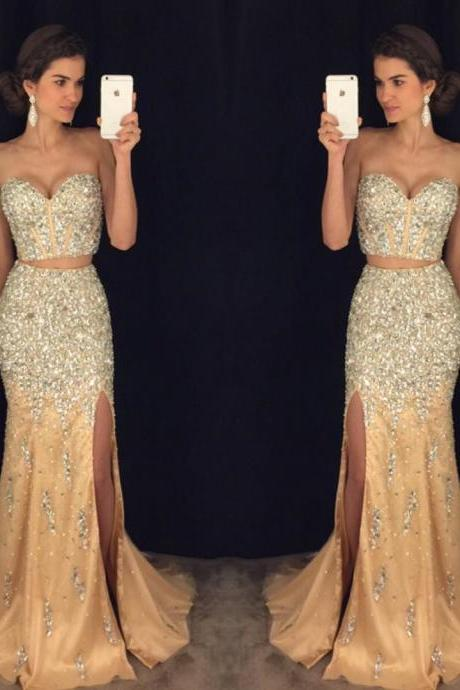 sparkly prom dresses,pageant gowns,two piece prom dresses,mermaid evening dress,long prom dresses