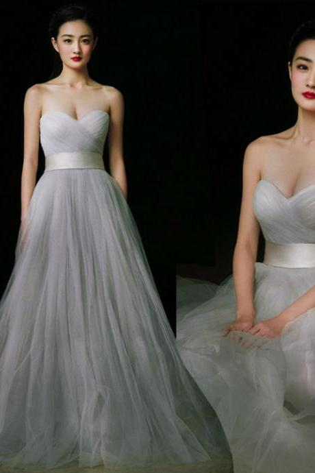 Charming Prom Dress,Grey Prom Dress,Tulle prom dress,Strapless Prom Dress,Sweetheart neck Prom Dress,sexy prom dress,prom dress