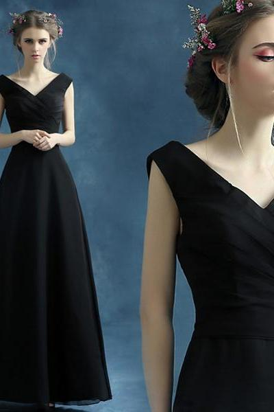 Black Plunge V Sleeveless Floor Length A-Line Formal Dress, Prom Dress
