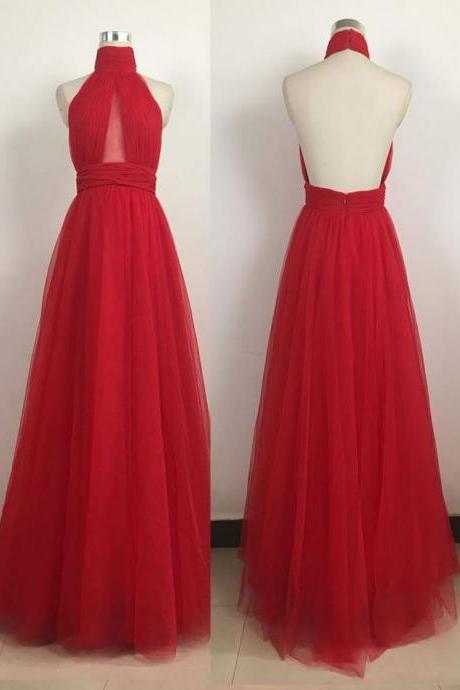 Red Chiffon Prom Dress,Sexy Halter Party Dress,Floor Length Evening Dress,High Quality