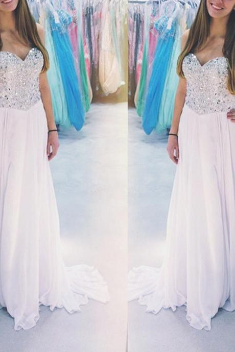 Prom Dress,White Prom Dress,Beaded Prom Dress with Crystals, Long Chiffon Prom Dresses