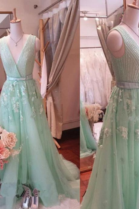 Mint Green Beaded Embellishments and Floral Appliqués Plunge V Sleeveless Floor Length Chiffon Formal Dress, Prom Dress