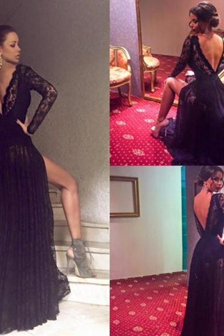 Long Prom Dress Black All Over Lace A-Line Full Sleeves Open Back Sweep Train Prom Dresses ,Vestidos,Custom prom dresses, Formal Dresses, High Quality Party Dresses,High Quality Graduation Dress,Wedding Guest Dress
