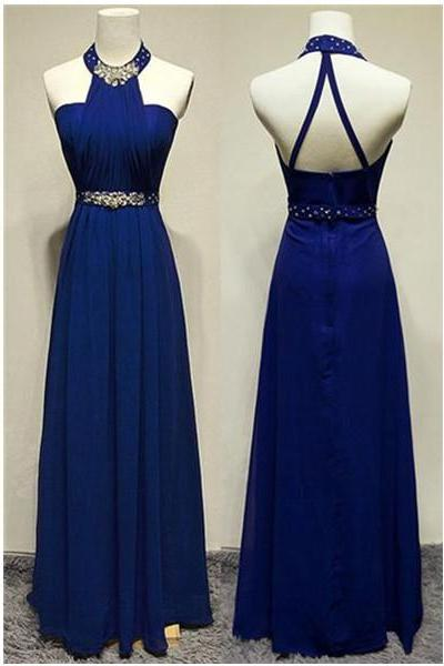 Royal Blue Halter Beaded Long Prom Dresses,A-line Chiffon Evening Dresses,Party Prom Dresses,Prom Dress,Evening Gowns On Sale