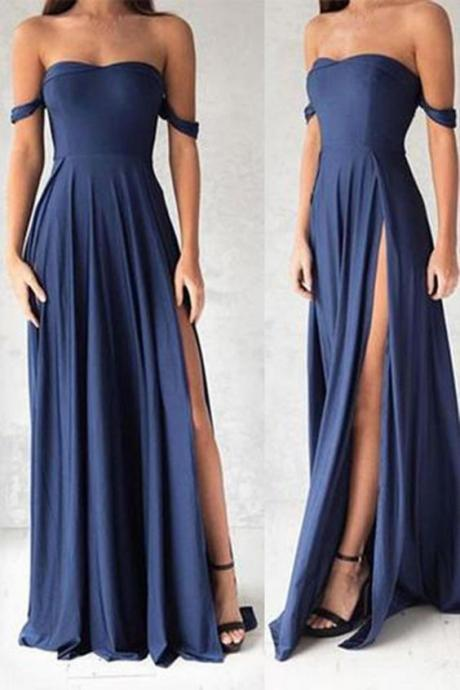Custom Made Off-Shoulder High Split Chiffon A-line Jewel Embellished Evening Dress, Bridesmaid Dresses, Weddings, Prom Dresses